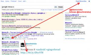 Obrázek - doporučení z twitteru v SERP google