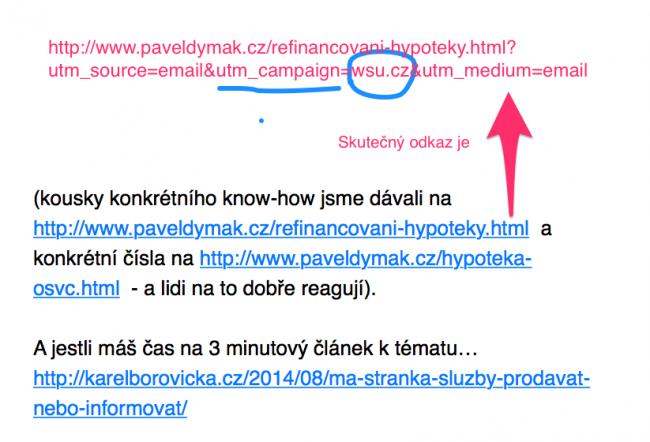 """V mailu vložím """"skrytě"""" do odkazu měřicí parametry jako do PPC reklam"""